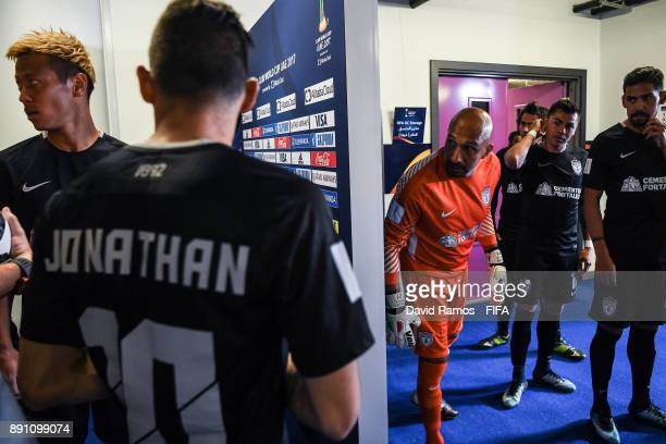 Pachuca players wait at the tunnel area after the halftime during the FIFA Club World Cup UAE 2017 semifinal match between Gremio FBPA and CF Pachuca...