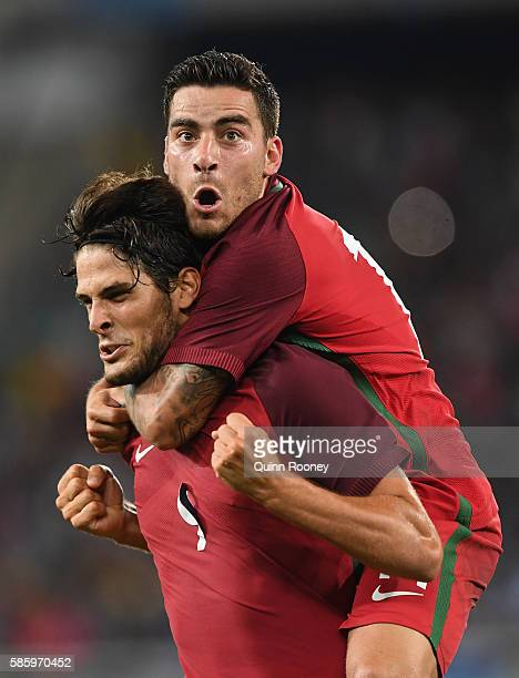 Paciencia Goncalo of Portugal celebrates his goal during the Men's Group D first round match between Portugal and Argentina during the Rio 2016...