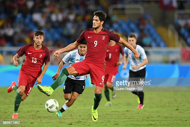 Paciencia Goncalo of Portugal controls the ball during the Men's Group D first round match between Portugal and Argentina during the Rio 2016 Olympic...