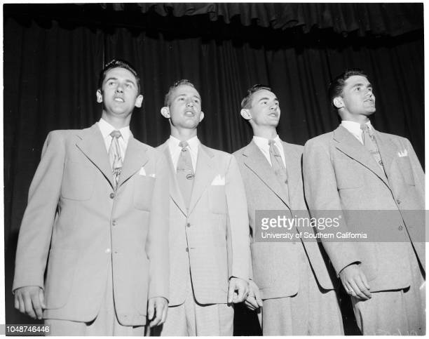 Pacific Bible College at Azusa, commencement exercises, May 27 1952. Marilyn Gloeckler;Ardith Kleven;Patricia McCollum;Joe Rogers;Robert...