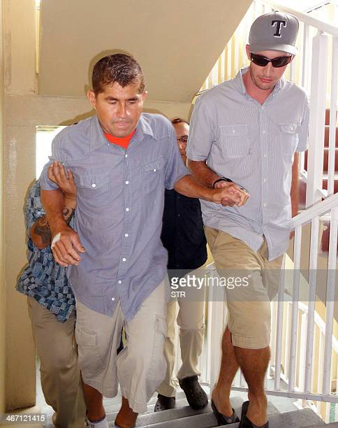 Pacific castaway Jose Salvador Alvarenga is helped into a press conference in the Marshall Islands capital of Majuro on February 6 2014 Pacific...