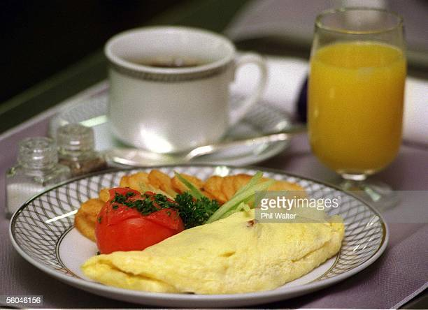 Pacific CateringUnited Airlines first class menu Sausageonion and pepper omelette