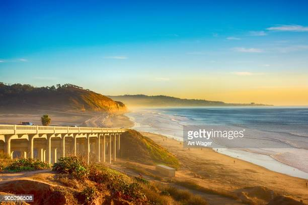 pacific coast highway 101 in del mar - coastline stock photos and pictures