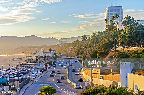 pacific coast highway - santa monica stock-fotos und bilder