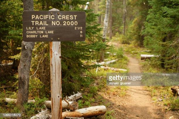 pacific crest trail sign in oregon cascades wilderness - pacific crest trail stock pictures, royalty-free photos & images