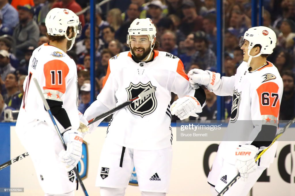 {L-R} Pacific Division All-Stars teammates Anze Kopitar #11 of the Los Angeles Kings, Drew Doughty #8 of the Los Angeles Kings, and Rickard Rakell #67 of the Anaheim Ducks celebrate after a score in the first half during the 2018 Honda NHL All-Star Game between the Atlantic Division and the Pacific Divison at Amalie Arena on January 28, 2018 in Tampa, Florida.
