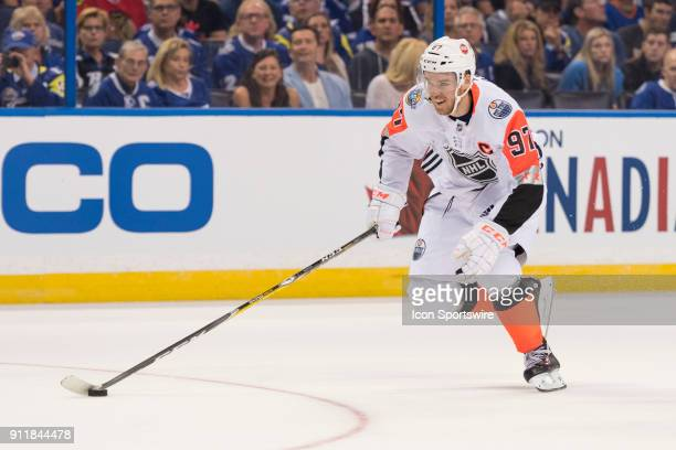 Pacific Division forward Connor McDavid during the first game of the NHL AllStar Game between the Pacific and Central Divisions on January 28 at...