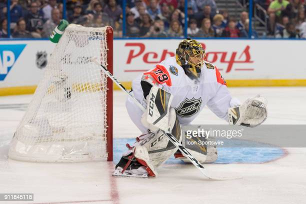 Pacific Division goalie MarcAndre Fleury prepares for a shot during the first game of the NHL AllStar Game between the Pacific and Central Divisions...
