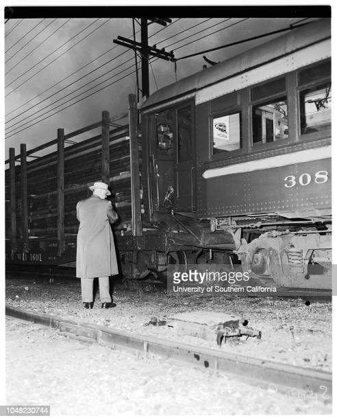 Pacific Electric Car crashes into parked lumber train Wilmington Road, San Pedro, 1952. A.E Langley Longshore dispatcher, slightly injured;Hugh H....