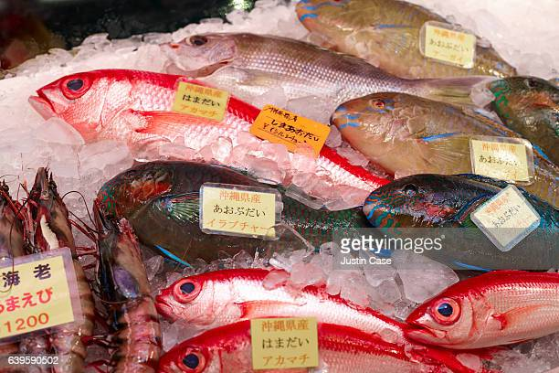 Pacific fish on japanese market stand