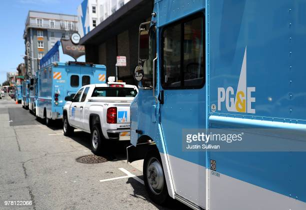 A Pacific Gas and Electric truck sits parked on a street on June 18 2018 in San Francisco California California lawmakers are saying that PGE is...