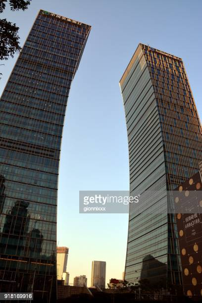 citic pacific hq & mandarin oriental twin buildings, lujiazui, shanghai, china - pudong stock pictures, royalty-free photos & images