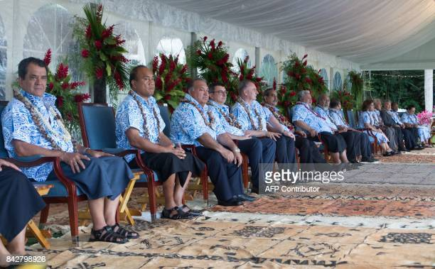 Pacific Island leaders attend the opening ceremony of the 48th Pacific Islands Forum in Apia Samoa on September 5 2017 The 48th PIF leaders meeting...