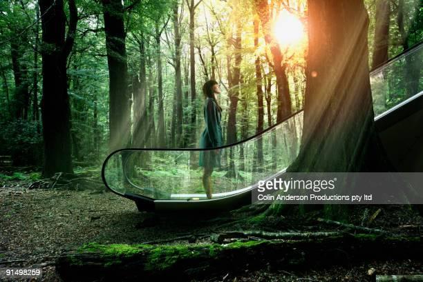 pacific islander businesswoman ascending escalator in forest - schöne natur stock-fotos und bilder