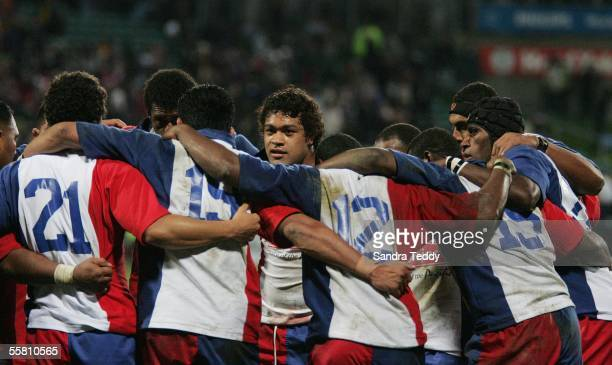 Pacific Islander Sione Lauaki gathers with the team at North Harbour Stadium Auckland New Zealand Saturday 10th July 2004 after their 2641 loss to...