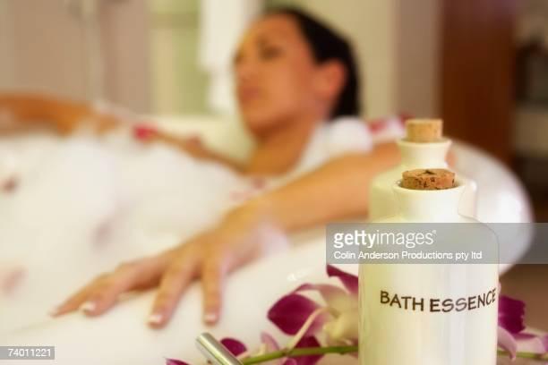 Pacific Islander woman in bubble bath