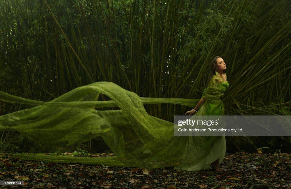Pacific Islander woman in flowing green dress outdoors : Foto stock