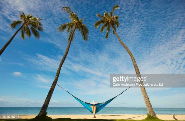 Pacific Islander woman sitting in hammock between palm trees