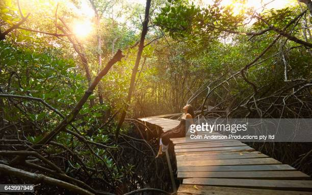 pacific islander woman sitting on walkway in jungle - eskapismus stock-fotos und bilder