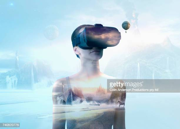 Pacific Islander woman wearing virtual reality goggles