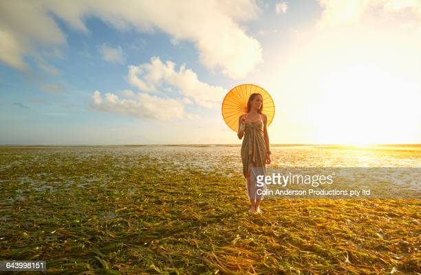 Pacific Islander woman with parasol in rice paddy