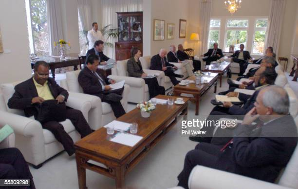 Pacific Islands leaders sit in a meeting room at Governement House in Auckland New Zealand Tuesday April 6th 2004 during a break in talks for the...