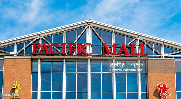 Pacific Mall exterior facade sign at the top of shopping centre Pacific Mall is an Asian shopping centre in Markham Ontario