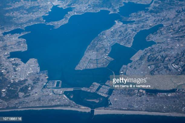 Pacific Ocean and Hamana Lake in Shizuoka prefecture in Japan daytime aerial view from airplane