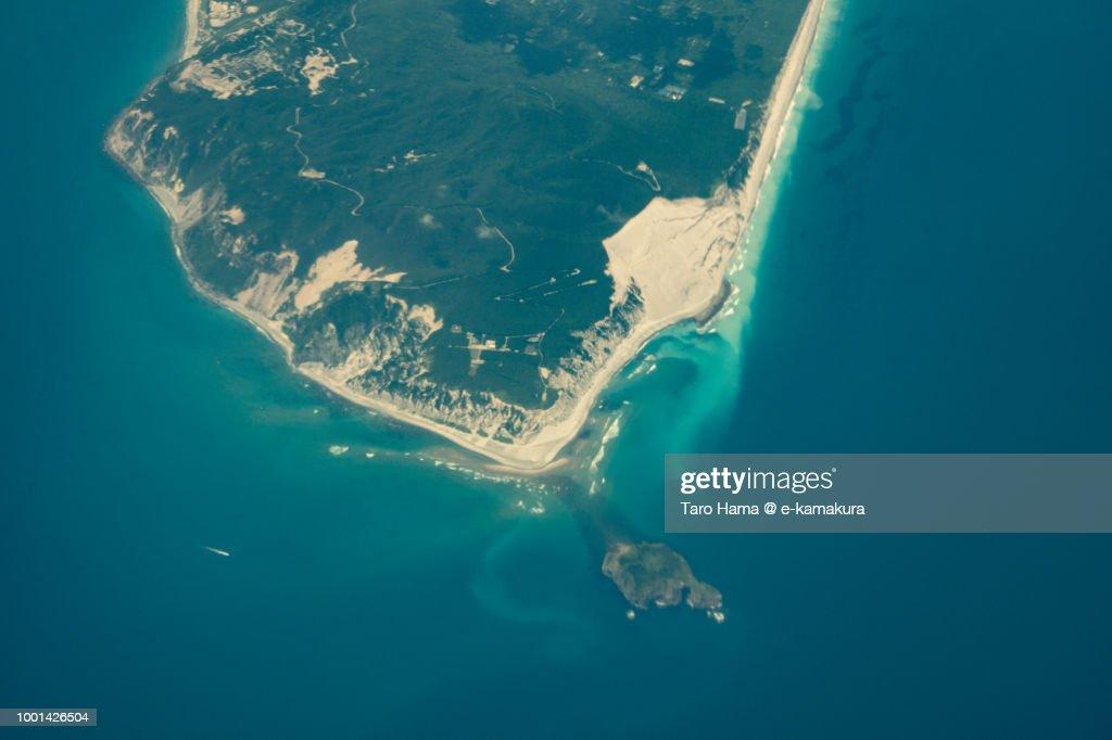 Aerial Map Of Japan.Pacific Ocean And Niijima Island In Tokyo In Japan Daytime Aerial