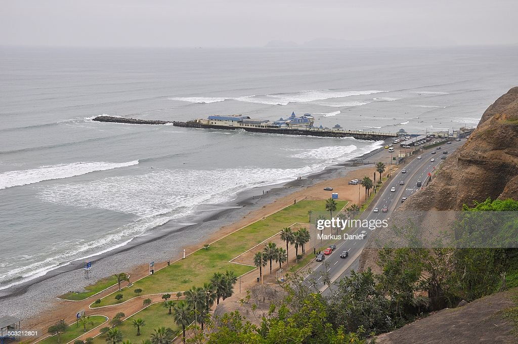 Pacific Ocean and Pier in Miraflores : Stock Photo