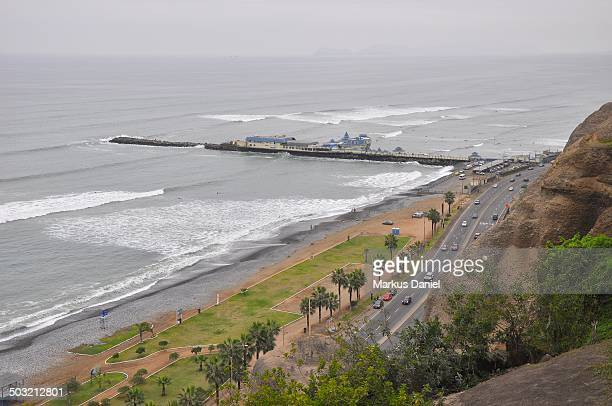 """pacific ocean and pier in miraflores - """"markus daniel"""" stock pictures, royalty-free photos & images"""
