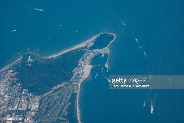 Pacific Ocean and Tahara city in Aichi prefecture in Japan daytime aerial view from airplane