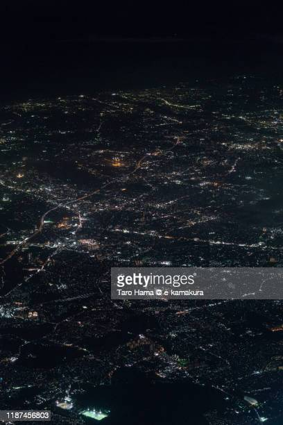 pacific ocean, and yamato, ebina, chigasaki cities in kanagawa prefecture of japan aerial view from airplane - 平塚市 ストックフォトと画像