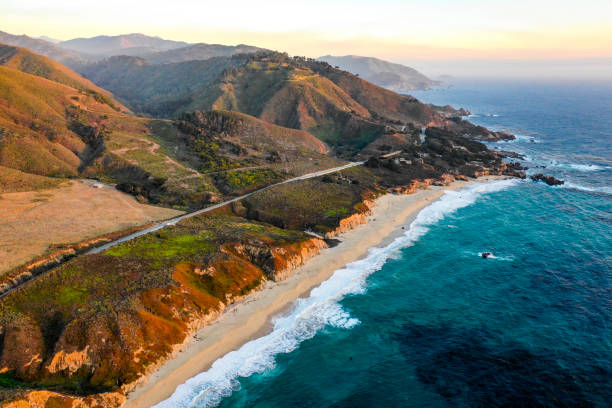 pacific ocean at big sur - horizontal stock pictures, royalty-free photos & images