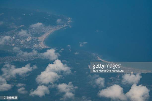 Pacific Ocean, Katsuura city and Onjuku town in Chiba prefecture in Japan daytime aerial view from airplane