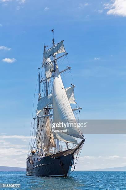 Pacific Ocean, sailing ship under sail at Galapagos Islands