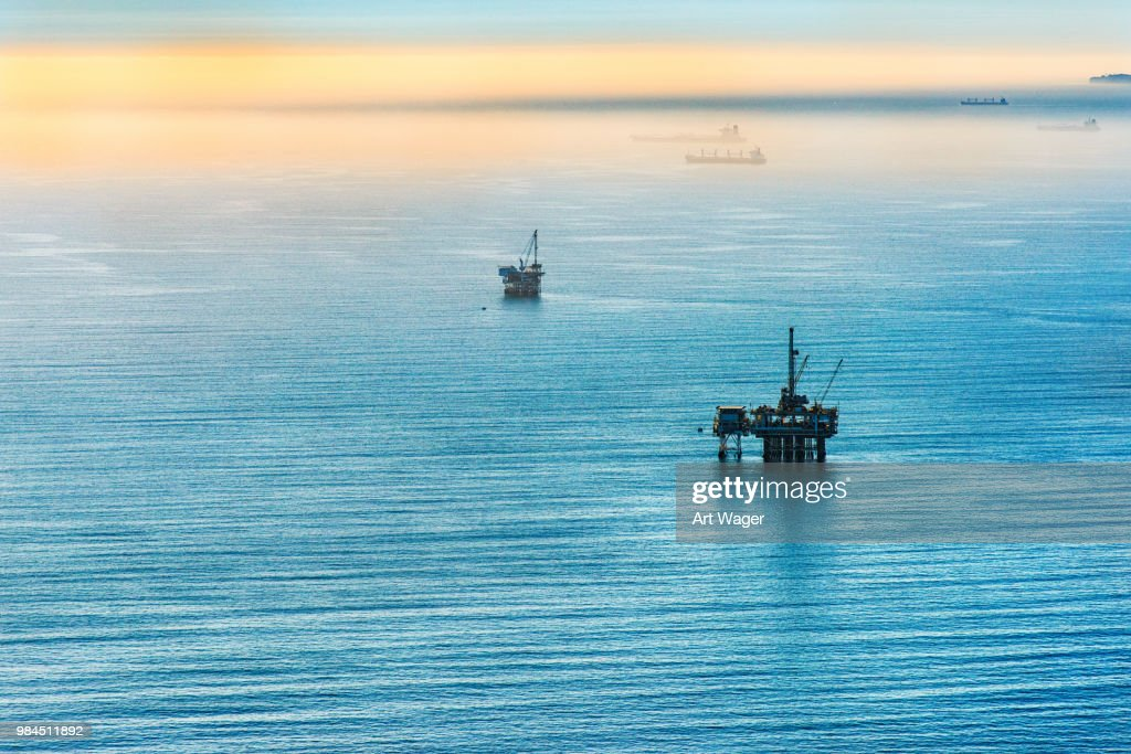 Pacific Offshore Oil Platforms : Stock Photo