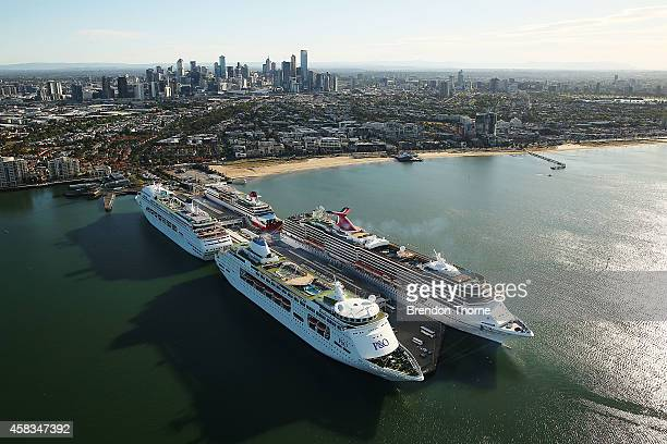 Pacific Pearl Pacific Jewell and Carnival Spirit are seen docked in Melbourne ahead of the Melbourne Cup on November 4 2014 in Melbourne Australia In...