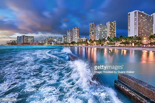 pacific surge - waikiki stock pictures, royalty-free photos & images