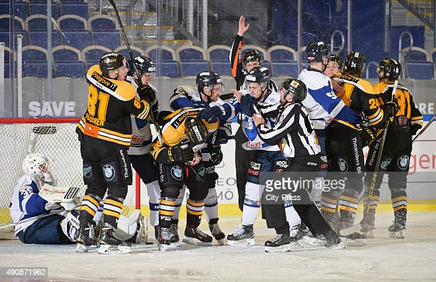Pack forming during the game between IK Pantern Malmo and BIK Barlskoga on October 1, 2015 in Malmo, Sweden.