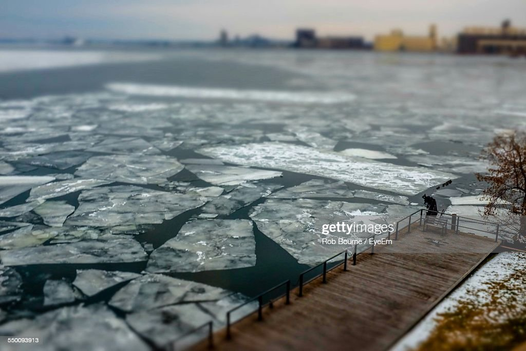 Pack Ice Floating In Sea During Winter : Stock Photo