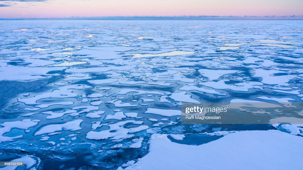 pack ice in blue and pink, Spitzbergen, Svalbard : Stock Photo