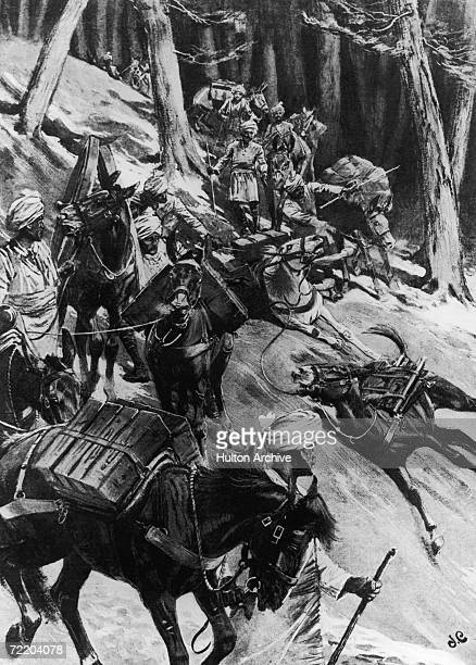 Pack mules slip and fall on a steep mountain path to Yadong Tibet during the expedition led by British Army officer and explorer Colonel Sir Francis...