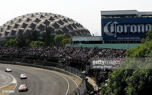 Pack of cars races during the NASCAR Busch Series Telcel-Motorola 200 on March 5, 2006 at Autodromo Hermanos Rodriguez in Mexico City, Mexico.