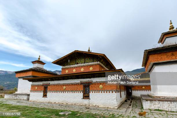 pack of dogs resting in jambay lhakhang temple in jakar, bhutan - pack of dogs stock pictures, royalty-free photos & images