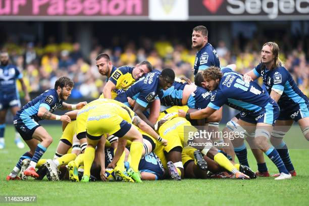 Pack of Montpellier during the Top 14 match between Clermont and Montpellier on May 25 2019 in ClermontFerrand France