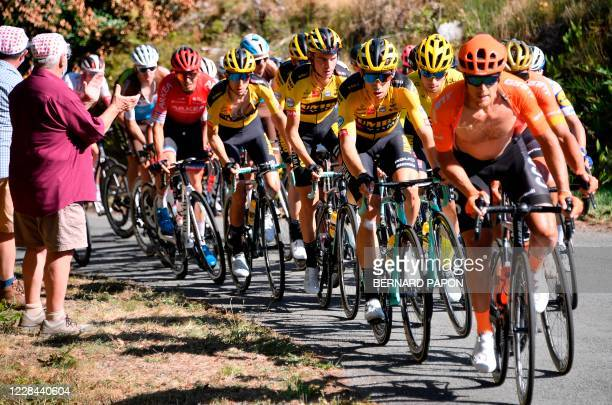 Pack of riders climbs during the 12th stage of the 107th edition of the Tour de France cycling race, 218 km between Chauvigny and Sarran, on...