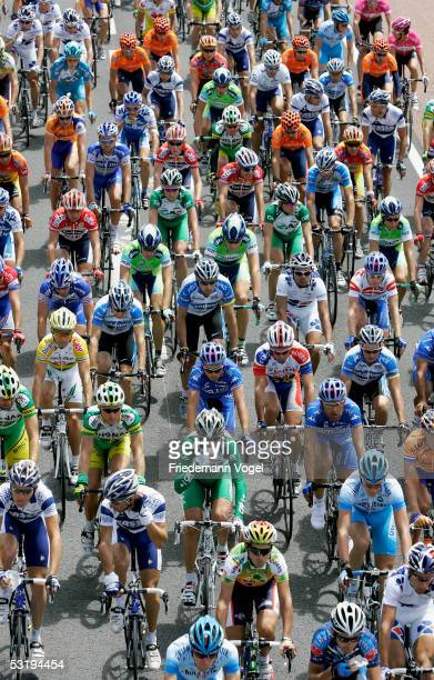 A pack of riders cycle during stage 3 of the 92nd Tour de France between La Chataigneraie and Tours on July 4 2005 in Tours France