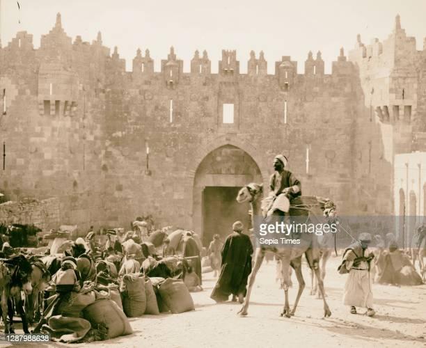 Pack train outside Damascus Gate Jerusalem 1898, Israel.