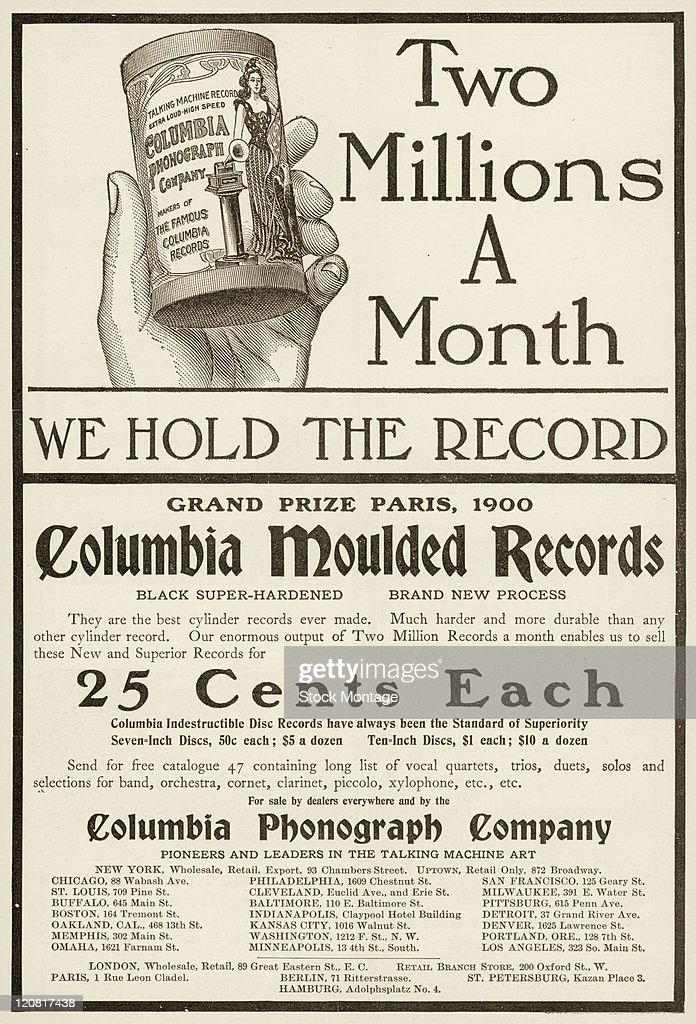 Cylinder Type Phonograph Record : News Photo